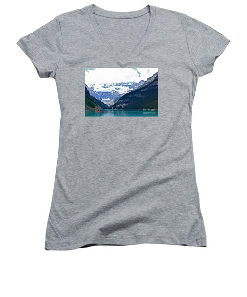 Women's V-Neck T-Shirt (Junior Cut) featuring the photograph Red Canoes Turquoise Water by Linda Bianic
