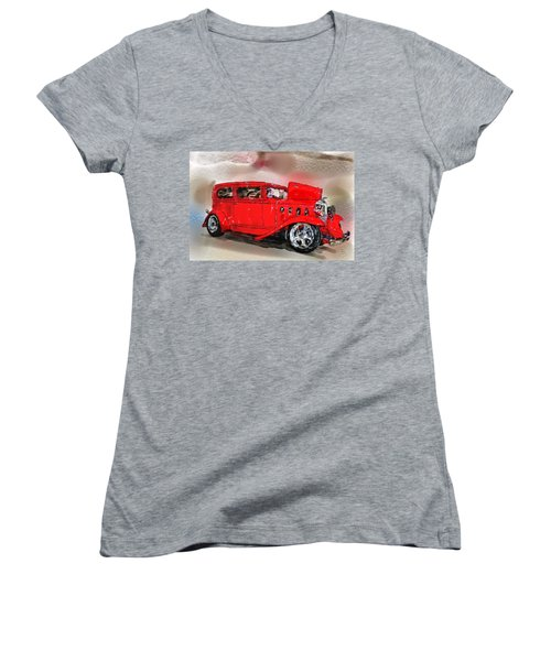 Red Car Women's V-Neck (Athletic Fit)