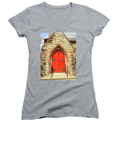 Women's V-Neck T-Shirt (Junior Cut) featuring the photograph Red Church Door by Becky Lupe