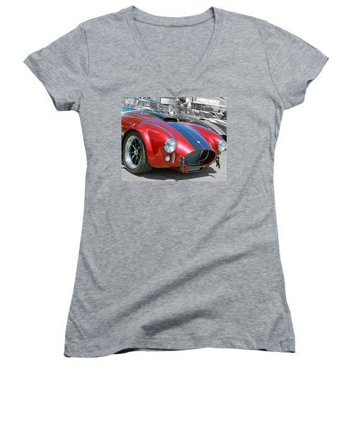 Women's V-Neck T-Shirt (Junior Cut) featuring the photograph Red Cobra by Shoal Hollingsworth