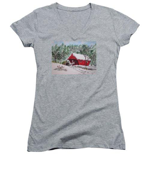Red Covered Bridge Christmas Women's V-Neck T-Shirt (Junior Cut) by Kathy Marrs Chandler