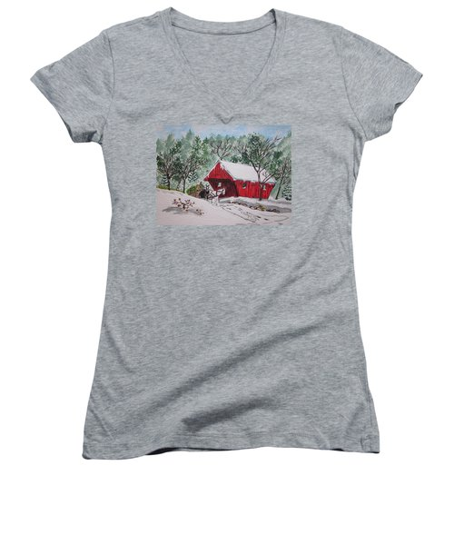 Red Covered Bridge Christmas Women's V-Neck (Athletic Fit)