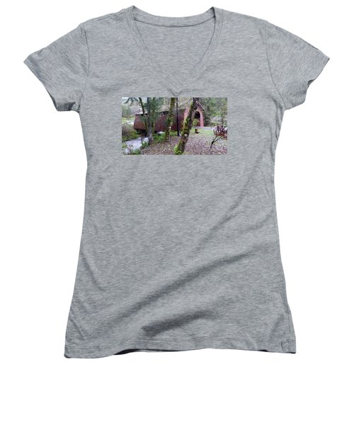Red Covered Bridge  Women's V-Neck (Athletic Fit)