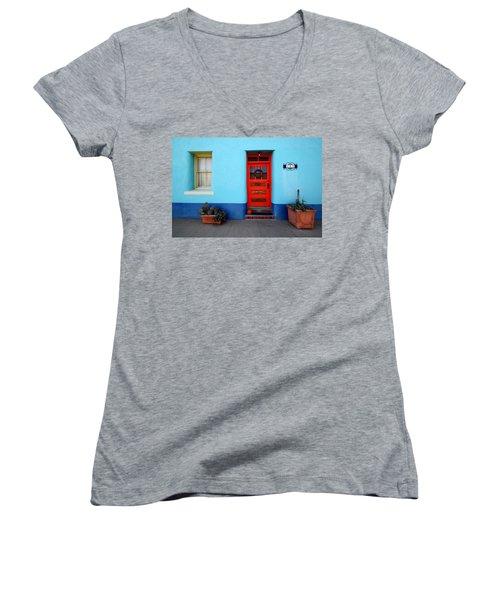 Red Door On Blue Wall Women's V-Neck T-Shirt (Junior Cut) by Joe Kozlowski