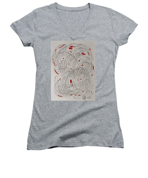 Red Fan Women's V-Neck T-Shirt (Junior Cut) by Mary Carol Williams