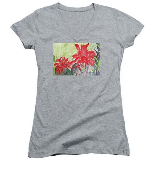 Red Flowers Women's V-Neck T-Shirt (Junior Cut)