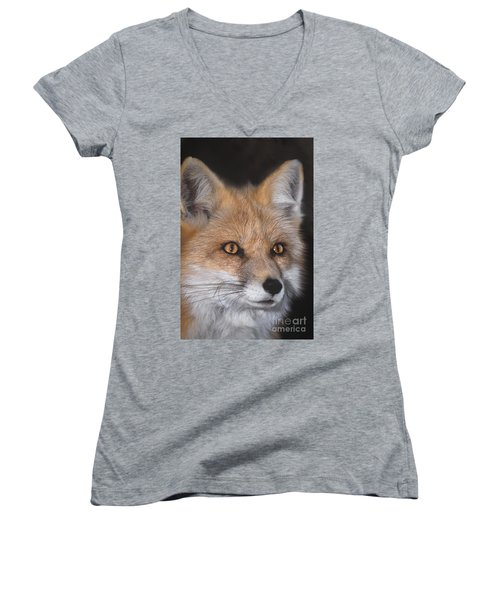 Women's V-Neck featuring the photograph Red Fox Portrait Wildlife Rescue by Dave Welling