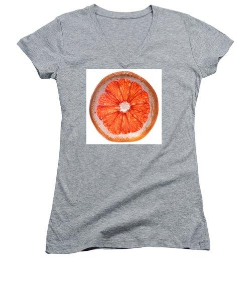 Red Grapefruit Women's V-Neck T-Shirt (Junior Cut) by Steve Gadomski