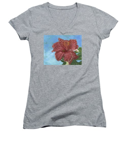 Red Hibiscus Women's V-Neck (Athletic Fit)