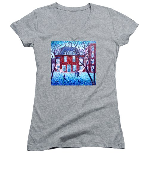 Red House In Montreal - Cityscape Women's V-Neck