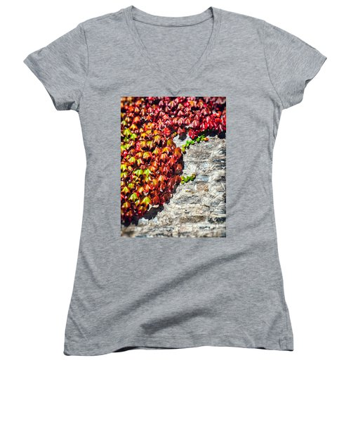 Women's V-Neck T-Shirt (Junior Cut) featuring the photograph Red Ivy On Wall by Silvia Ganora