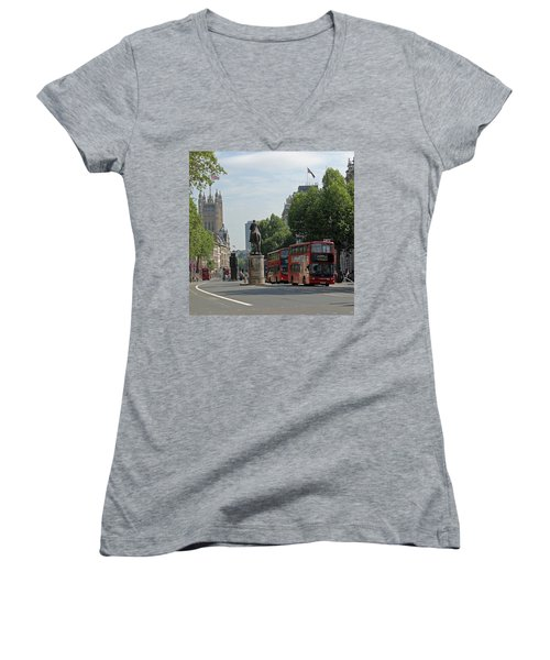 Red London Bus In Whitehall Women's V-Neck T-Shirt (Junior Cut) by Tony Murtagh