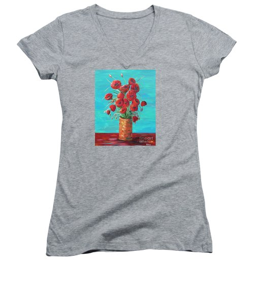 Women's V-Neck T-Shirt (Junior Cut) featuring the painting Red On My Table  by Eloise Schneider