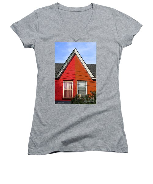 Women's V-Neck T-Shirt (Junior Cut) featuring the photograph Red-orange House by Nina Silver