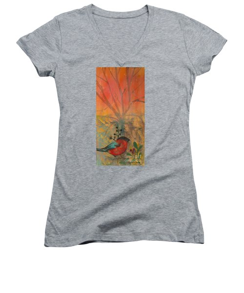 Red Peace Bird Women's V-Neck T-Shirt