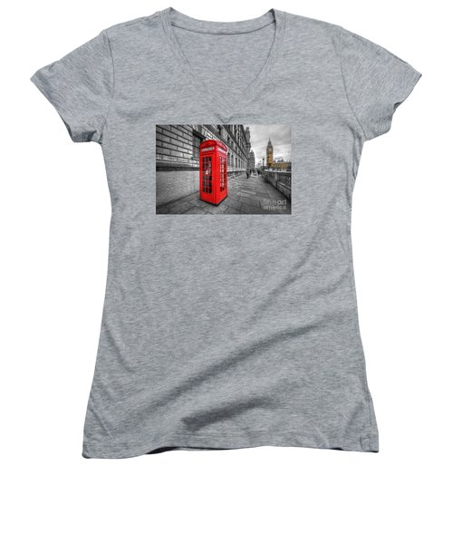 Red Phone Box And Big Ben Women's V-Neck (Athletic Fit)
