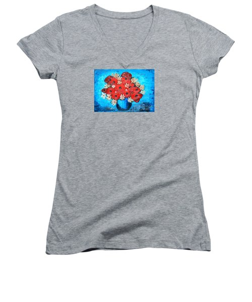 Red Poppies And White Daisies Women's V-Neck T-Shirt (Junior Cut) by Ramona Matei