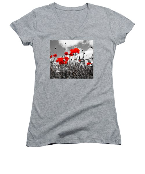 Red Poppies On Black And White Background Women's V-Neck (Athletic Fit)