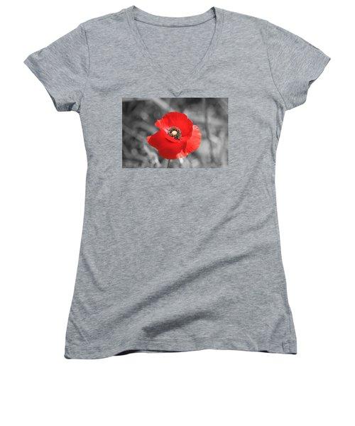 Red Poppy Women's V-Neck (Athletic Fit)