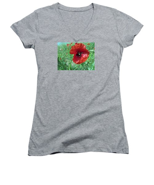 Women's V-Neck T-Shirt (Junior Cut) featuring the photograph Red Poppy by Vesna Martinjak