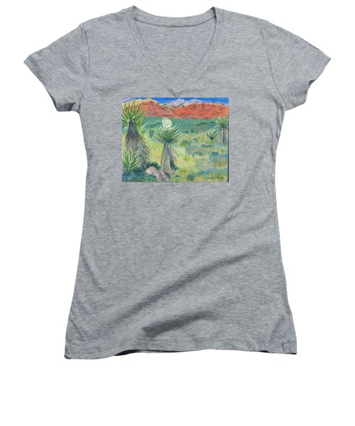 Red Rock Canyon With Yucca Women's V-Neck