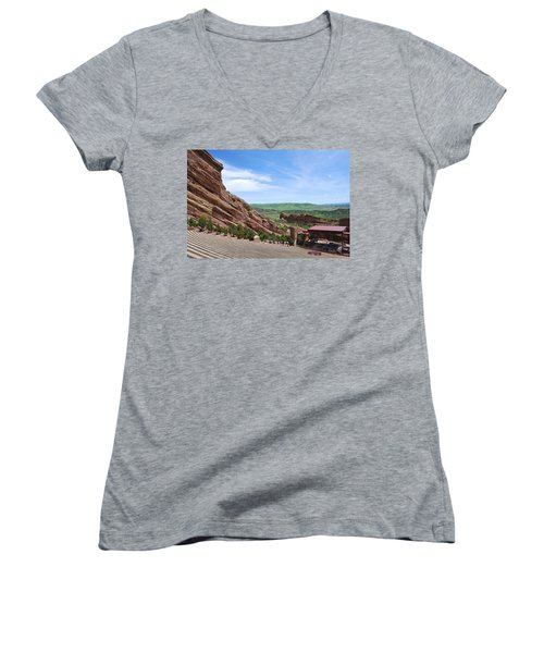Red Rocks Women's V-Neck T-Shirt (Junior Cut) by Charlie and Norma Brock