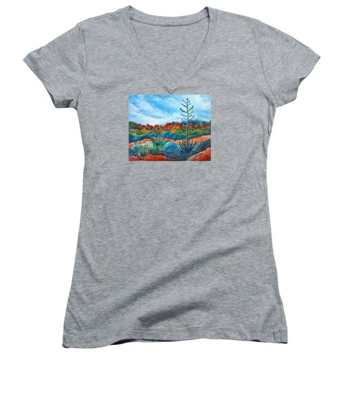 Women's V-Neck T-Shirt (Junior Cut) featuring the painting Red Rocks by Victoria Lakes