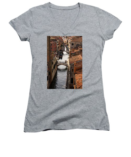 Red Roofs Of Venice Women's V-Neck