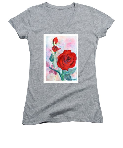 Red Roses Women's V-Neck T-Shirt (Junior Cut) by C Sitton