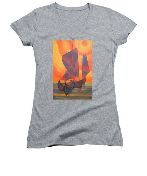 Women's V-Neck T-Shirt (Junior Cut) featuring the painting Red Sails In The Sunset by Tracey Harrington-Simpson
