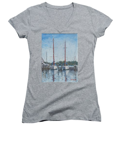 Red Sails Under Gray Sky Women's V-Neck