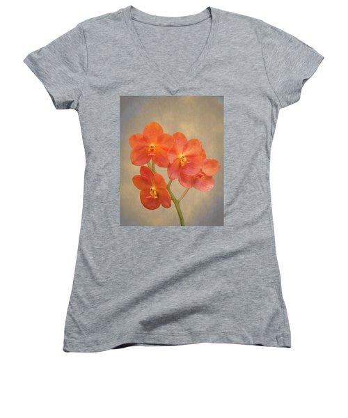 Red Scarlet Orchid On Grunge Women's V-Neck