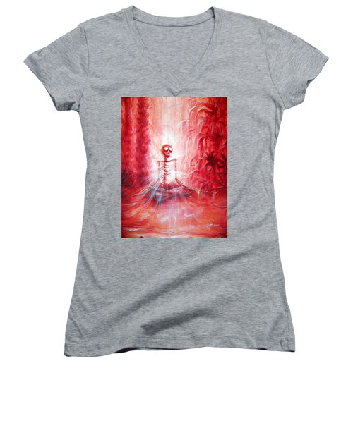Red Skeleton Meditation Women's V-Neck (Athletic Fit)
