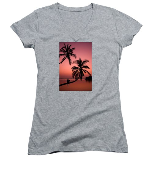Red Sunset In The Tropics Women's V-Neck T-Shirt