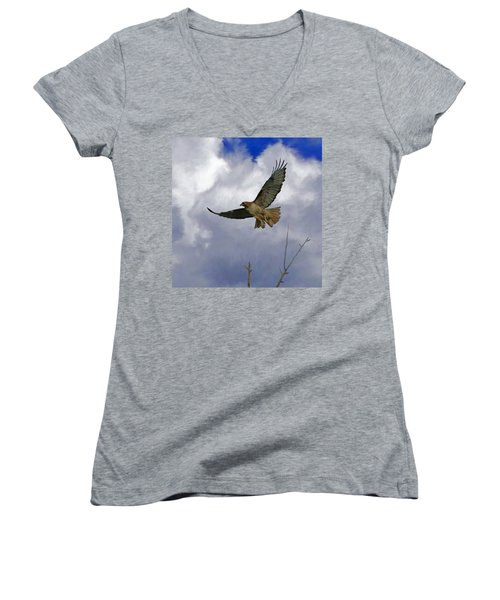 Red Tail Hawk Digital Freehand Painting 1 Women's V-Neck T-Shirt