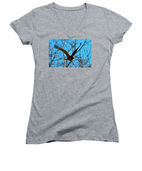 Women's V-Neck T-Shirt (Junior Cut) featuring the photograph Red Tail Hawk In Flight by Peggy Franz