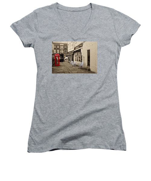 Red Telephone Box Women's V-Neck (Athletic Fit)