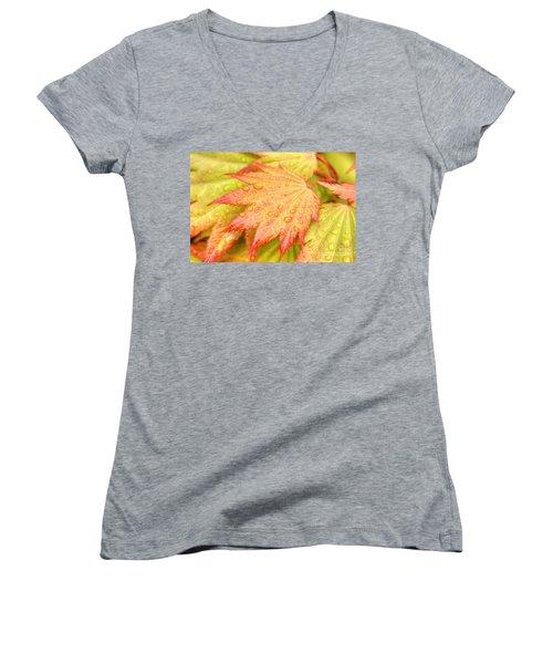 Red Tip Leaf Women's V-Neck T-Shirt (Junior Cut)