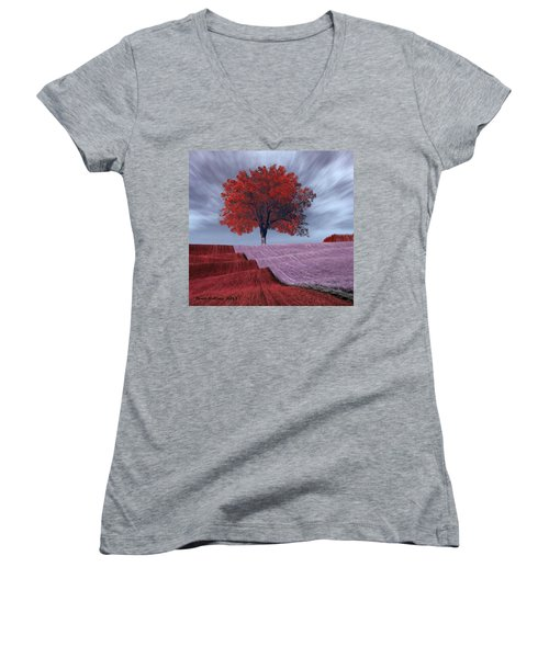 Women's V-Neck T-Shirt (Junior Cut) featuring the painting Red Tree In A Field by Bruce Nutting