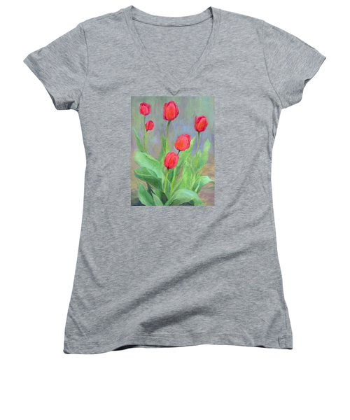 Red Tulips Colorful Painting Of Flowers By K. Joann Russell Women's V-Neck T-Shirt (Junior Cut) by Elizabeth Sawyer