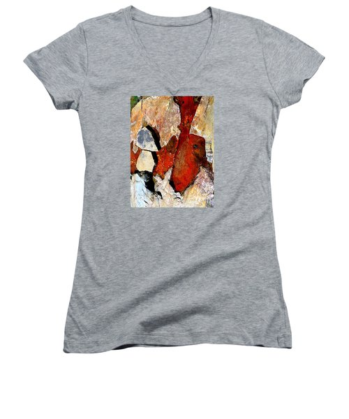 Red Veins Women's V-Neck T-Shirt (Junior Cut) by Marcia Lee Jones