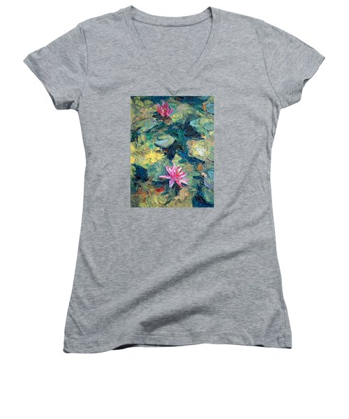 Women's V-Neck T-Shirt (Junior Cut) featuring the painting Red Waterlily  by Jieming Wang