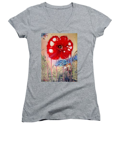 Women's V-Neck T-Shirt (Junior Cut) featuring the painting Red Weed Red Poppy by Daniel Janda