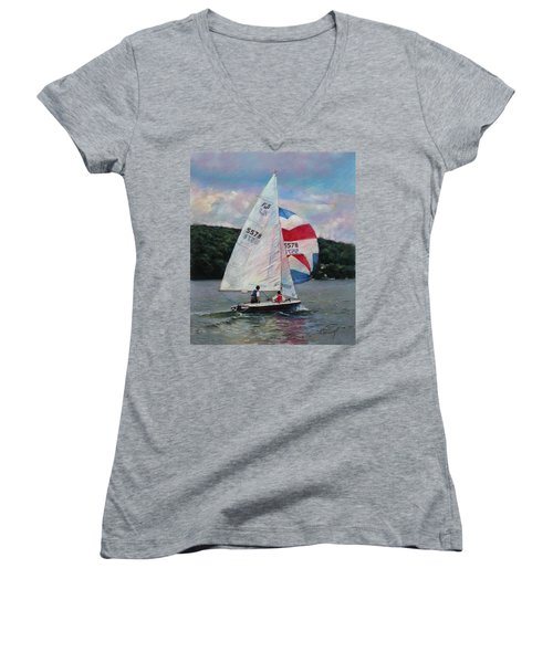 Women's V-Neck T-Shirt (Junior Cut) featuring the drawing Red White And Blue Sailboat by Viola El