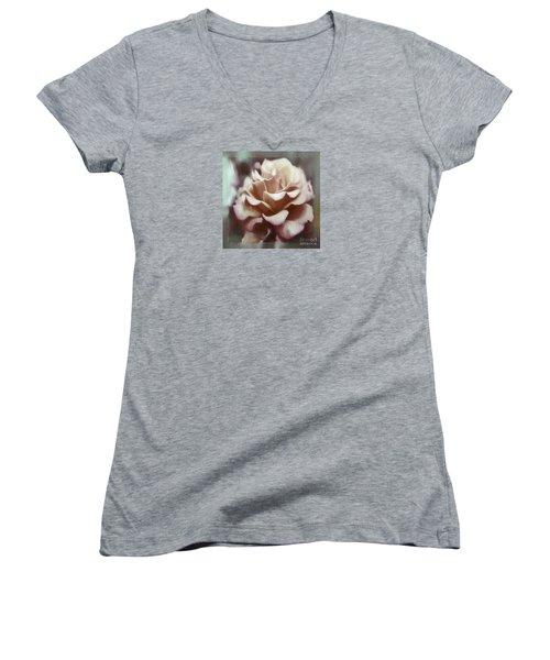 Women's V-Neck T-Shirt (Junior Cut) featuring the photograph Red White Rose by Jean OKeeffe Macro Abundance Art