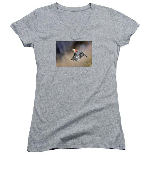 Redbelly Woodpecker Flight Women's V-Neck T-Shirt (Junior Cut) by Nava Thompson