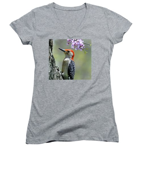 Redbud With Woodpecker Women's V-Neck T-Shirt