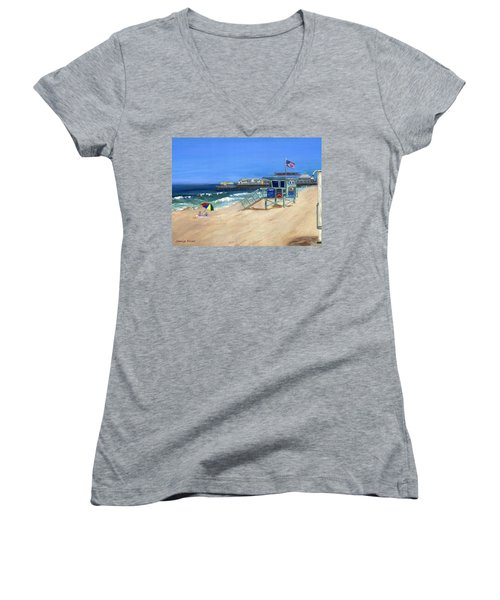 Women's V-Neck T-Shirt (Junior Cut) featuring the painting Redondo Beach Lifeguard  by Jamie Frier