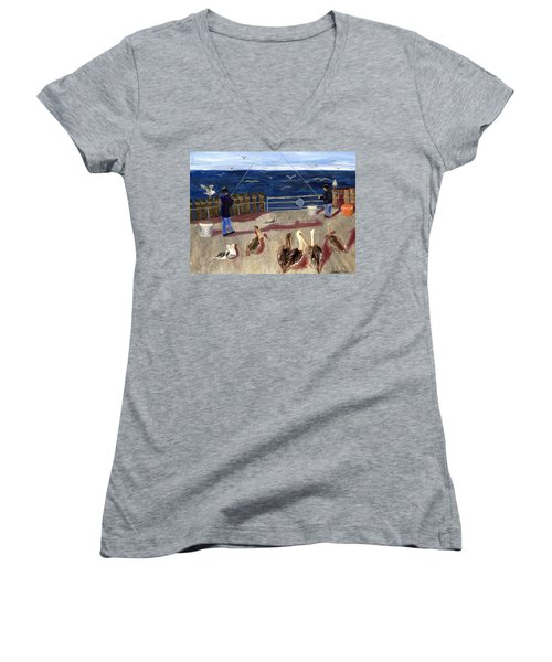 Redondo Beach Pelicans Women's V-Neck T-Shirt