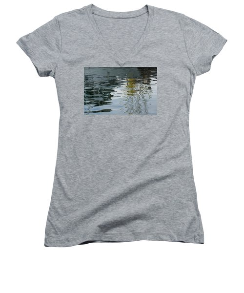 Women's V-Neck T-Shirt (Junior Cut) featuring the photograph Reflecting On Autumn Trees by Georgia Mizuleva